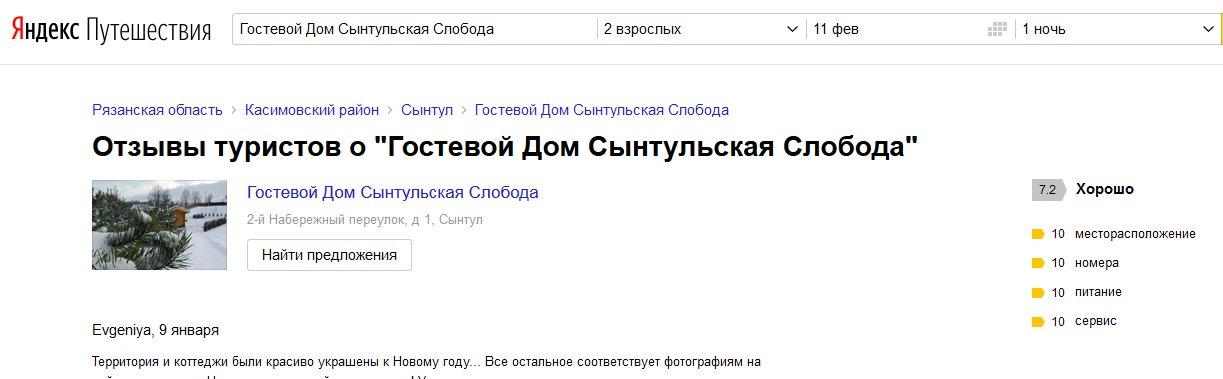 Отзывы на Яндексе о Сынтульской слободе
